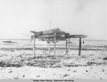 View of storage rack or cache and skin drying rack on tundra.