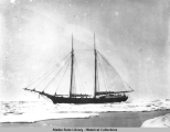 Unidentified two masted sailing (possibly whaling ship) ship surrounded by ice.