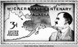 "Photograph of a 3-cent stamp design, ""Wickersham Centenary, Alaska."""