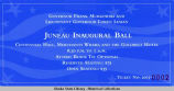 Tickets to the Juneau Inaugural Ball, Centennial Hall, Merchants Wharf, and the Goldbelt Hotel.