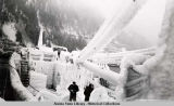 Storis, Coast Guard cutter, heavily iced at Juneau berth.  Feb. 20, 1956.