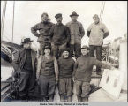 Capt. Amundsen and his crew on ship GJOA, Nome, 1906.