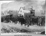 Dog teams from Dawson City arrive in Skagway, 1898.