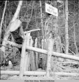 "Model ""deadfall"" trap on display in totem park built by CCC, Kassan [Kasaan], Alaska,..."