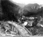 Salmon Creek Dam, under construction, 1913.