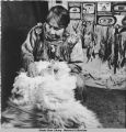 Klukwan: making Chilkat blankets, 2/1943.
