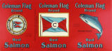 Coleman Flag brand red salmon can label, from Alaska Packer's Association in San Francisco,...