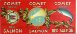 Comet brand red salmon can label, from Alaska Packer's Association in San Francisco, undated.