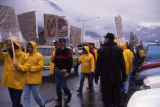 Seafood processors picketing and protesting at Exxon's headquarters.