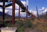 Trans-Alaskan pipeline extends off to the horizon.