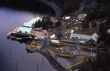 Aerial of salmon hatchery, buildings, and roads.