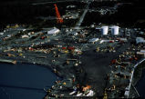 Aerial of boat cleaning facility dry dock, cleaning oil spill vessels after demobilization.