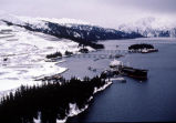 Aerial of oil terminal during winter months