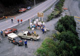 Aerial picketers standing outside of Alyeska Terminal gate protesting the docking of foreign...