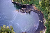 Aerial of misc. beach that was hit by the oil spill.