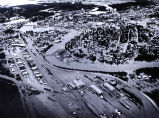 Aerial view of Fairbanks during 1967 flood.