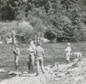 Children fishing in the Junior Trout Derby, Salmon Creek, Juneau, July 1963.