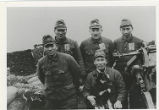 Imperial Japanese soldiers (gun crew) and dog on Kiska 1942-1943.
