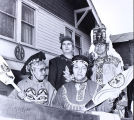 Tlingit individuals standing in front of the Alaska Native Brotherhood Hall, Sitka, ca. 1975.