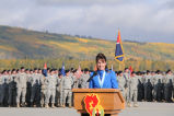 Governor Sarah Palin speaking at the deployment ceremony of the US Army 125th Stryker Brigade,...