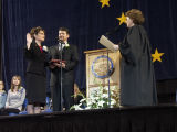 Sarah Palin being sworn in as Governor of Alaska, 2006.