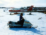 Kevin Olympic on his grand father's snow machine.