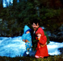 Georgie Wilson with his children Annette and Sonny Wilson near Kokhanok Falls.