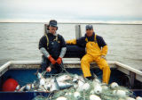 Raymond Apokedak with Sonny Wilson on Elena during fishing season.