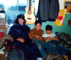 "Dennis Herman with brothers Tim and Yako Nickoli in the ""Old Nickoli's "" house."