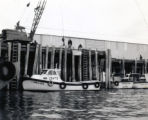 Shorty Wilson's boat Linda Lee being lauched from Nelbro Cannery.