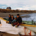 Youngsters on a beluga that Georgie Wilson caught.