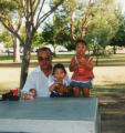 Charles Mann III with his children Tony and Tisha.