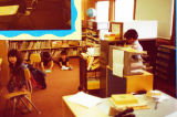 Igiugig School 1980s first glance of the teachers desk.