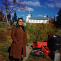 Elena Pat in front of the Russian Orthadox church in Dillingham.