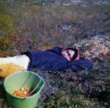 Julie Olympic taking a break from berry picking.