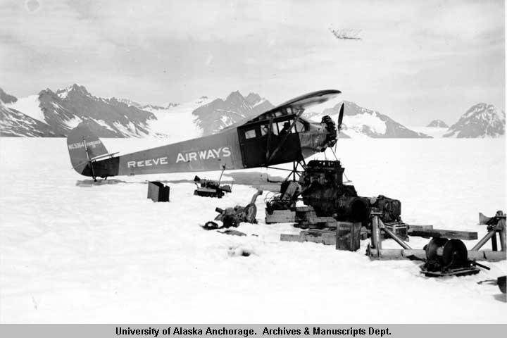 Bob Reeve on Columbia Glacier by 'cat' parts, 1938  - University of