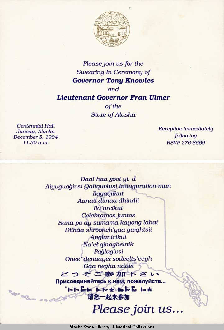 Ceremony Of Governor Tony Knowles