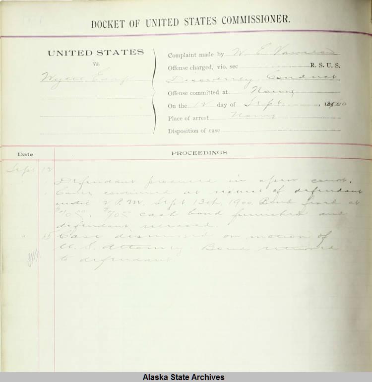 Records concerning Wyatt Earp